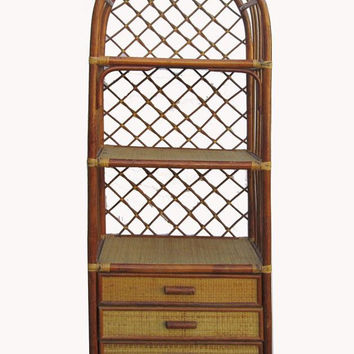 Rattan Face Chinese Antique Bamboo Handmade Bookcase Display Cabinet wk2771S