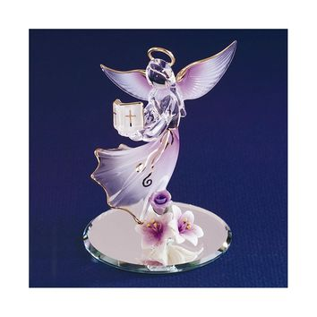 Lavender Angel with Bible Glass Figurine - Perfect Religious Gift