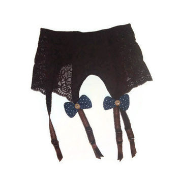Small Brown Garter Belt with Large Front Navy Bows Button Center