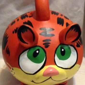 Rare Garfield the Cat Ceramic Piggy Bank With Handle vintage coin bank