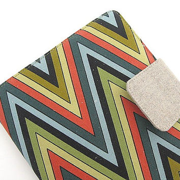 iPad Mini Cover Kindle Fire Cover Nook Simple Touch Cover Kobo Cover Case Chevron ZigZag Zig Zag Green Blue Linen KatyDidStitches