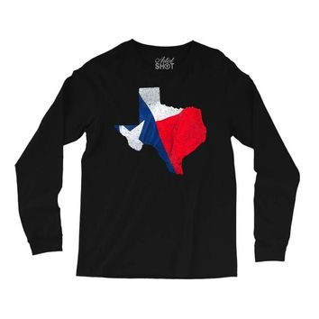 Eroded Texas Map With Flag Long Sleeve Shirts