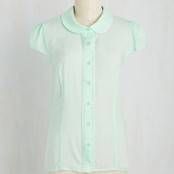 Library Study Sesh Top in Mint | Mod Retro Vintage Short Sleeve Shirts | ModCloth.com