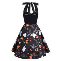 Women Party Dress 2018 Vintage Retro Halloween 50s 60s Dresses Sexy Halter Pumpkin Light Print Rockabilly Pinup Dresses