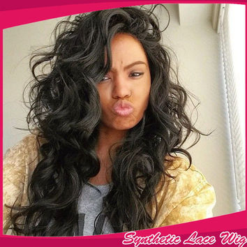 High selling Top quality long kinky curly natural felling soft synthetic lace front wig 150 High Density for black & white women