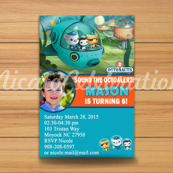 Printable Photo Octonauts Design Invitation - Digital File