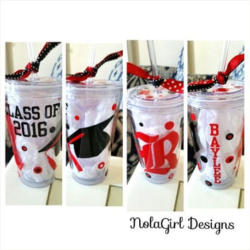 Class of 2015 Graduation Tumbler, Customized Vinyl Tumbler, Class of 2016, 16 oz tumbler vinyl, School mascots, Personalized Christmas Gifts