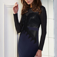 Navy Lace Mesh Spliced Long Sleeve Bodycon Dress