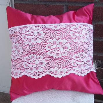 Pink Satin Pillow Cover  Upcycled with Lace 14 X 14 Inch Square