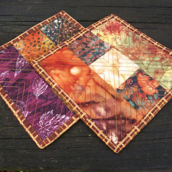 Fall Mug Rugs Coasters Autumn Leaves Reversible Set of 2 Handmade Ready to Ship One of a Kind