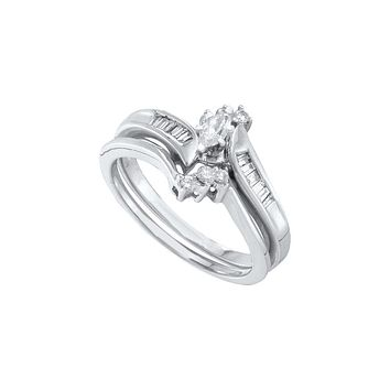 10k White Gold Womens Marquise Diamond Wedding Bridal Engagement Ring Set 1/4 Cttw 6846