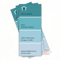 Moving Announcement (3x7 Printable or Printed) Paint Swatch Moving Announcements - Moving Cards - New Home Card - New Address Announcement