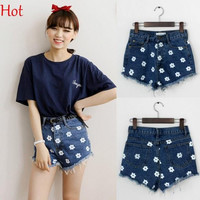 Style  Shorts Flowers Loose Cotton Casual Girls Slim High Waist