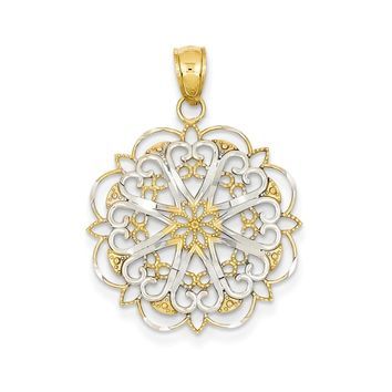 14k Yellow Gold & Rhodium Filigree Hearts w/Scalloped Edge Pendant