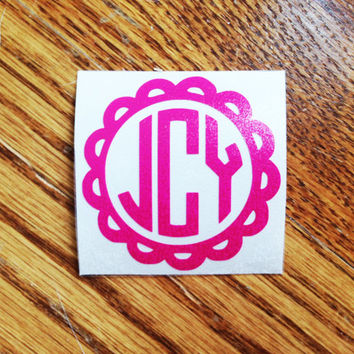 Scallop Vinyl Personalized Monogram Decal Sticker - Circle Monogram - DIY - for car Window, laptop, cell phone, notebook, mason jars, etc.