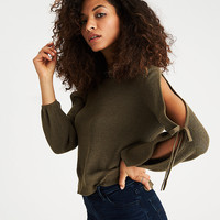 AEO Open Tie-Sleeve Sweater, Olive