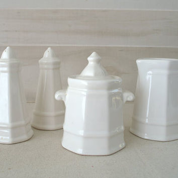 Pfaltzgraff Heritage Salt and Pepper Shaker, Pfaltzgraff Heritage Milk Pitcher and Sugar Bowl,  White Stoneware Serving Set