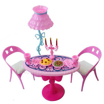 1 Set Vintage Table Chairs For Barbie Dolls Furniture Dining Sets Toys For Girl Kid Child For Pink