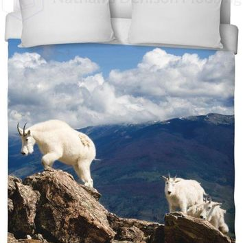 Colorado Mountain Goats Duvet Cover
