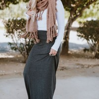 Solid Maxi Skirt - Charcoal
