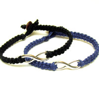 Black and Blue Set of Two Infinity Bracelets for Couples, Macrame Hemp Jewelry, Made to Order