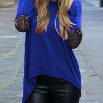 Blue Dip Hem Sparkely Glittery Cozy Costume Loose T-shirt