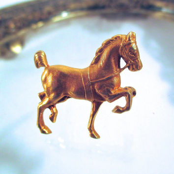 Antique Sloan & Co. 14k GOLD HORSE Pin Brooch 14k Gold Equestrian Hackney Pony Show Horse Pin