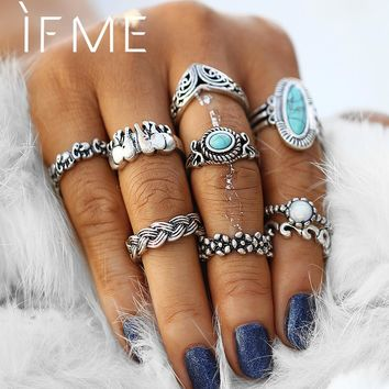 IF ME Retro Big Blue Natural Stone Rings Set for Women Mixed Flower Elephant Infinity Flower Knuckle Rings Antique Silve Color