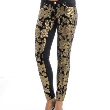 Sequin Couch Floral Velvet Underlay Black Brushed Twill Jeans SP1090