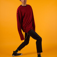 Red Stripe Oversize Long Sleeve T-Shirt