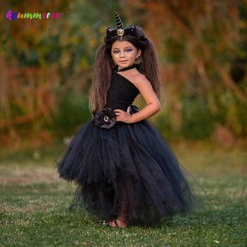Unicorn Girls Tutu Dress Halloween Holiday Costume Baby Cosplay Party Ball Gown Funking Girls Vestidos For Photo Props