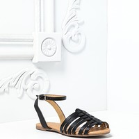 LEATHERETTE STRAPPY OPEN TOE SANDALS