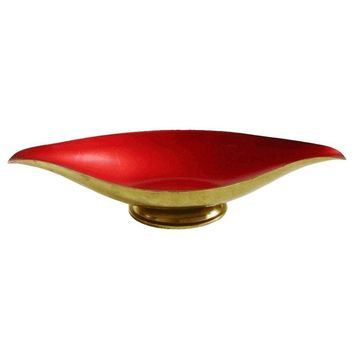 Pre-owned Red Enamel & Brass Bowl