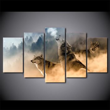Howling Wolves Wolf Winter HD Printed 5 Piece Canvas Art Wall Picture