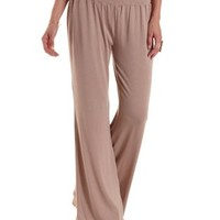 Taupe Smocked-Waist Palazzo Pants by Charlotte Russe