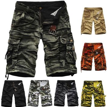 Aowofs Men's Summer Cotton Overalls Summer Camouflage Loose Shorts
