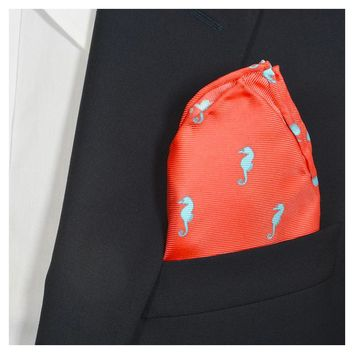 Seahorse Pocket Square - Coral Pink