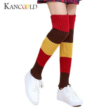 Women Thigh High Stockings Leg Warmers Over Knee socks warm Girls striped Stocking patchwork Thick Wool Knitted Heap Socks OC30A