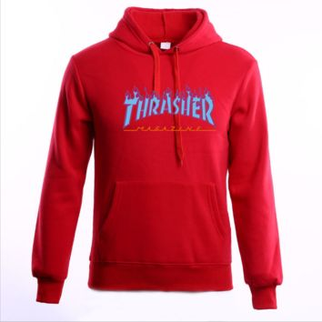 """Thrasher""Thickening hoodie hooded cotton red flame - skateboard style Red"