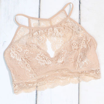 High Neck Cut Out Lined Bralette {Nude}