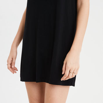 AE Knit Swing T-Shirt Dress, Black