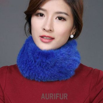 DCCKNY6 2016 New Womens Real Knitted Mink Muffler Ladies Natural Mink Fur Scarf Winter Solid Neckerchief AU00863