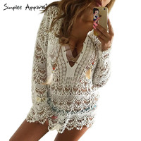 Summer elegant white lace blouse shirt