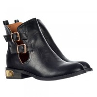 Onlineshoe Retro Ankle Chelsea Boot - Cut Out Side and Buckles - Black, Burgundy - Onlineshoe from Onlineshoe UK