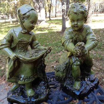 Vintage Green Borghese signed Salienne, Peasant boy & girl figurines - 1950s home decor, art,