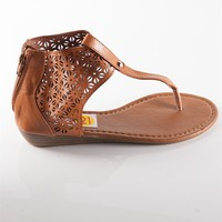 Zipper Backed Cut Out Thong Sandal - Tan from Casual & Day at Lucky 21 Lucky 21