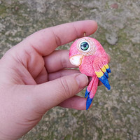 Parrot bird necklace pendant charm fashion polymer clay hand made gift funny humor for kids her birthday