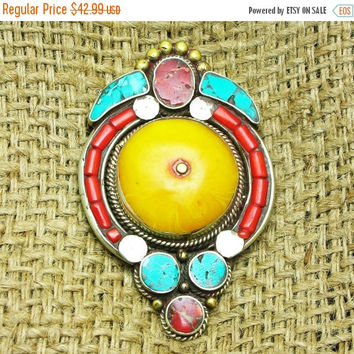 Black Friday On Sale Napalese Turquoise Pendant With Red Taiwan Coral And Amber Gemstones ,Vintage Jewelry,925 Silver Gemstone Jewelry ,Anci
