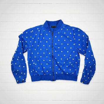 80s Vintage Jacket / Women's Blue Polka Dot Jacket / Hipster Urban Outfitters Style