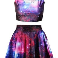 Dark Color Galaxy Print Sleeveless Crop Top and Skater Skirt Dress